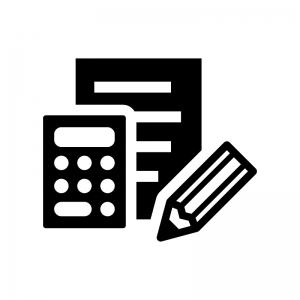 計算書・見積書の白黒シルエットイラスト02