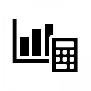 計算機と棒グラフの白黒シルエットイラスト