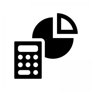 計算機と円グラフの白黒シルエットイラスト
