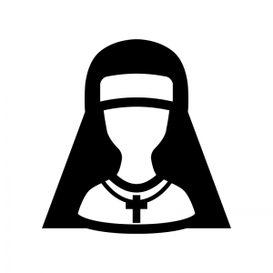 修道士・シスターの白黒シルエットイラスト02