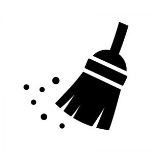 ホウキ掃除の白黒シルエットイラスト02
