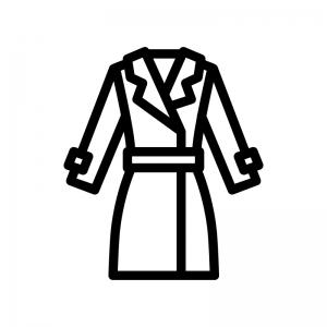 コート(上着)の白黒シルエットイラスト03