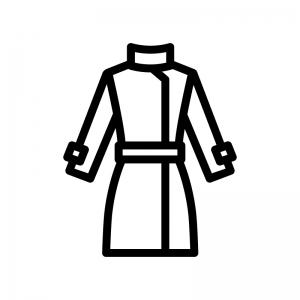 コート(上着)の白黒シルエットイラスト04