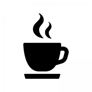 コーヒーカップの白黒シルエットイラスト08