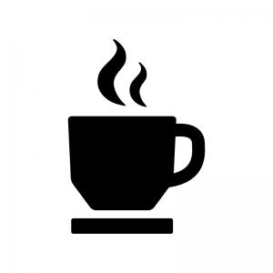 コーヒーカップの白黒シルエットイラスト09
