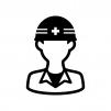 工事作業員の白黒シルエットイラスト03