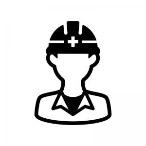 工事作業員の白黒シルエットイラスト04