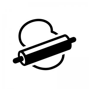 麺棒と生地の白黒シルエットイラスト