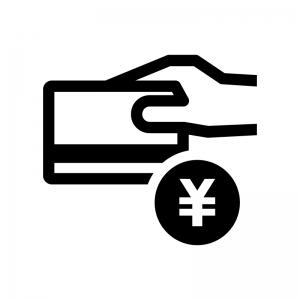 クレジットカード決済の白黒シルエットイラスト04