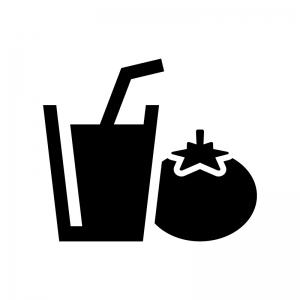 トマトジュースの白黒シルエットイラスト