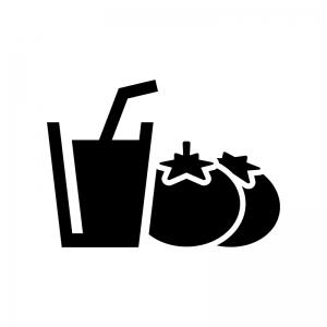 トマトジュースの白黒シルエットイラスト02