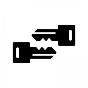 合鍵の白黒シルエットイラスト02