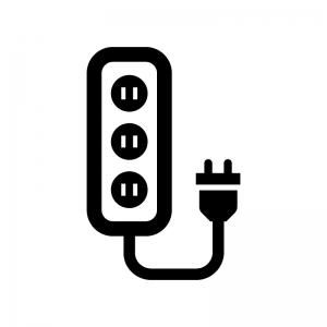 電源タップの白黒シルエットイラスト02
