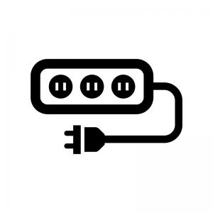 電源タップの白黒シルエットイラスト03