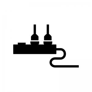 電源タップとコンセントプラグの白黒シルエットイラスト
