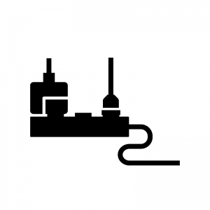 電源タップとコンセントプラグの白黒シルエットイラスト02