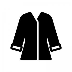 コート(上着)の白黒シルエットイラスト02