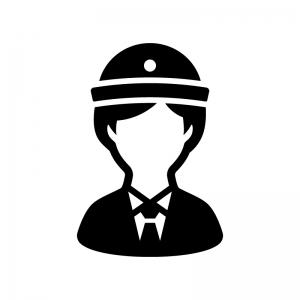 女性警察官の白黒シルエットイラスト