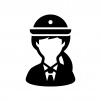 女性警察官の白黒シルエットイラスト02