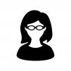 メガネをかけた女性の白黒シルエットイラスト