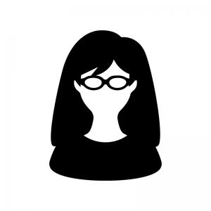 メガネをかけた女性の白黒シルエットイラスト02