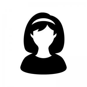 カチューシャを付けている女性の白黒シルエットイラスト
