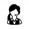 オペレーター(女性)の白黒シルエットイラスト