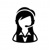 オペレーター(女性)の白黒シルエットイラスト02