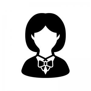 女子学生の白黒シルエットイラスト03