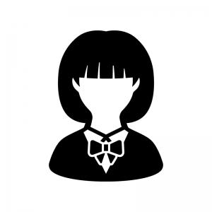 女子学生の白黒シルエットイラスト04