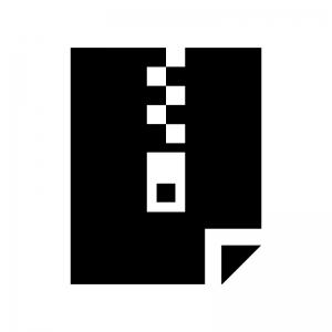 圧縮・ZIPファイルの白黒シルエットイラスト03