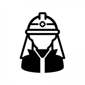 消防士の白黒シルエットイラスト02