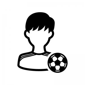 サッカー選手の白黒シルエットイラスト02
