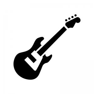楽器・ベースの白黒シルエットイラスト
