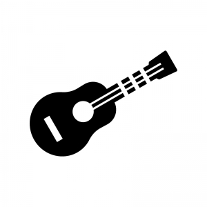 ギターの白黒シルエットイラスト03