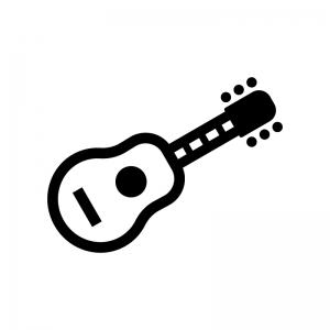 ギターの白黒シルエットイラスト04