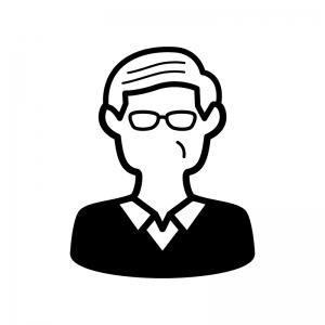 メガネをかけたお爺さんの白黒シルエットイラスト