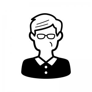 メガネをかけたお爺さんの白黒シルエットイラスト02