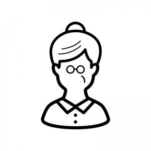 メガネをかけたお婆さんの白黒シルエットイラスト