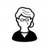 メガネをかけたお婆さんの白黒シルエットイラスト02