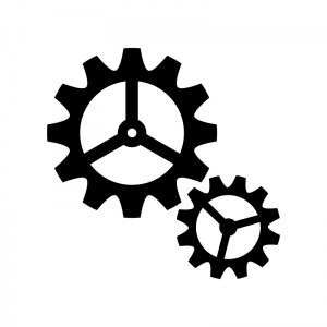 2つの歯車・設定の白黒シルエットイラスト03