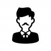髭の男性の白黒シルエットイラスト02