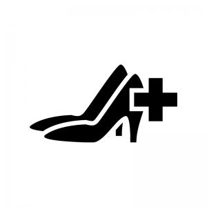 ハイヒールのメンテナンス・修理の白黒シルエットイラスト