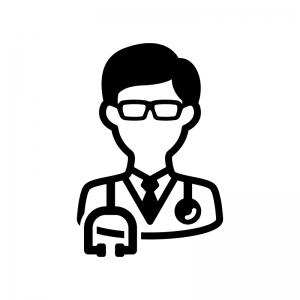 医師・ドクターの白黒シルエットイラスト03