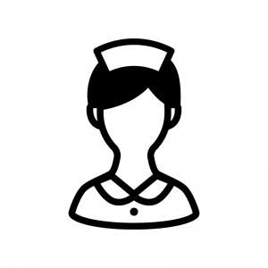 看護師・ナースの白黒シルエットイラスト03
