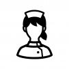 看護師・ナースの白黒シルエットイラスト04