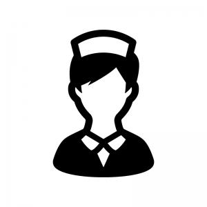 看護師・ナースの白黒シルエットイラスト05