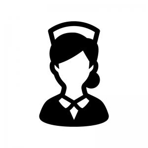 看護師・ナースの白黒シルエットイラスト06