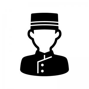 ホテルマン・ベルボーイの白黒シルエットイラスト03