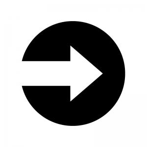 丸アイコンの矢印の白黒シルエットイラスト